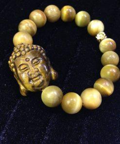 Vòng tay Đá Mắt Hổ Vàng mix Mặt Phật Mắt Hổ (VTMHV12052)