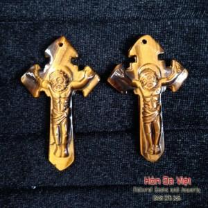 Mặt dây Thánh giá đá mắt hổ (MDMH00007)