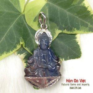 Mặt dây Phật Bà Saphire bọc bạc ( MDSP02034)
