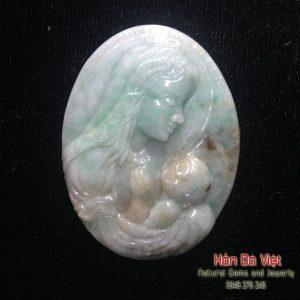 Mặt Dây Tình Mẫu Tử Đá Ngọc Cẩm Thạch (MDNCT00089)