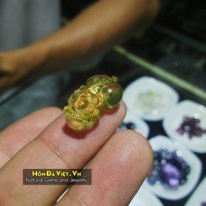 Mặt Dây Tỳ Hưu Thạch Anh Vàng (MDTAV00111)