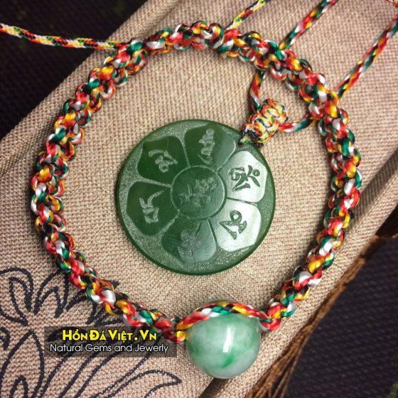 Mặt Dây Chú Lục Tự Ngọc Nephit Canada (MDNN00125)