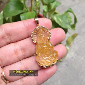 Mặt Dây Đức Phật Quán Thế Âm Thạch Anh Tóc Vàng (MDTATV00147)