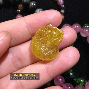 Mặt Dây Hồ Ly Thạch Anh Tóc Vàng (MDTATV00139)