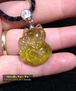 Mặt Dây Hồ Ly Thạch Anh Tóc Vàng (MDTATV00140)