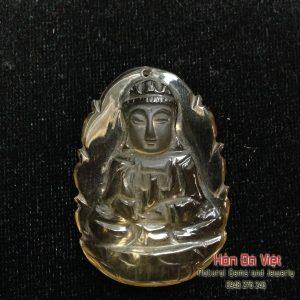 Mặt Dây Phật Quán Thế Âm Thạch Anh Vàng (MDTAV00157)