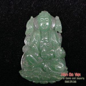 Mặt Dây Phật Quán Thế Âm Thạch Anh Xanh (MDTAX00143)