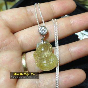 Mặt Dây Hồ Ly Thạch Anh Tóc Vàng (MDTATV00126)