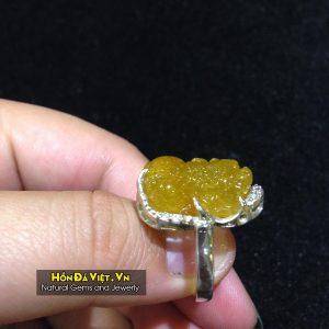 Nhẫn Bạc Tỳ Hưu Thạch Anh Tóc Vàng (NTATV01003)